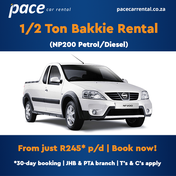 1/2 Ton Bakkie Rental from Pace Car Rental JHB and PTA